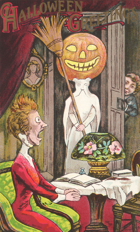 Description of . An American Halloween greetings card depicting a woman being frightened by a Halloween trick, circa 1910. The text reads 'Halloween Greetings'. (Photo by Hulton Archive/Getty Images)