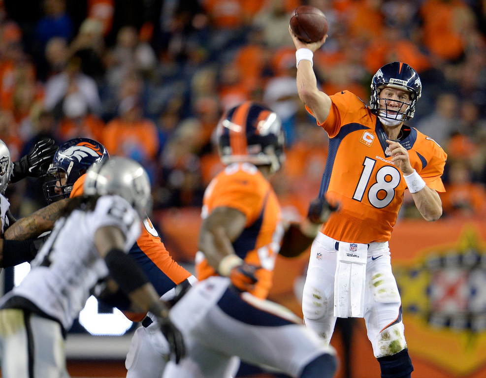 Description of . Denver Broncos quarterback Peyton Manning (18) passes to wide receiver Demaryius Thomas (88) during the third quarter. The Denver Broncos took on the Oakland Raiders at Sports Authority Field at Mile High in Denver on September 23, 2013. (Photo by Joe Amon/The Denver Post)