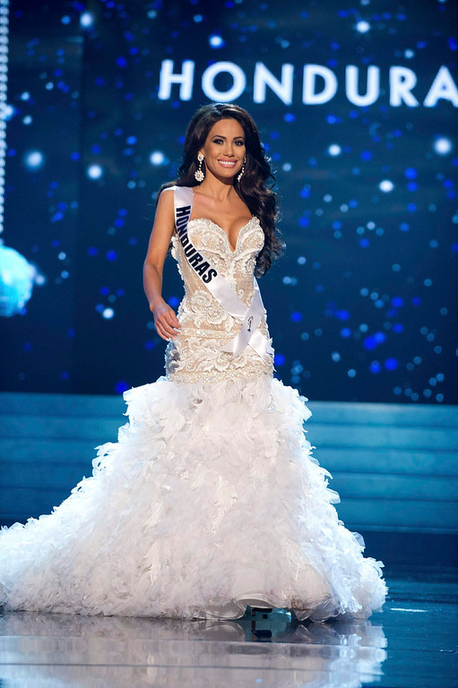 Description of . Miss Honduras 2012 Jennifer Andrade competes in an evening gown of her choice during the Evening Gown Competition of the 2012 Miss Universe Presentation Show in Las Vegas, Nevada, December 13, 2012. The Miss Universe 2012 pageant will be held on December 19 at the Planet Hollywood Resort and Casino in Las Vegas. REUTERS/Darren Decker/Miss Universe Organization L.P/Handout