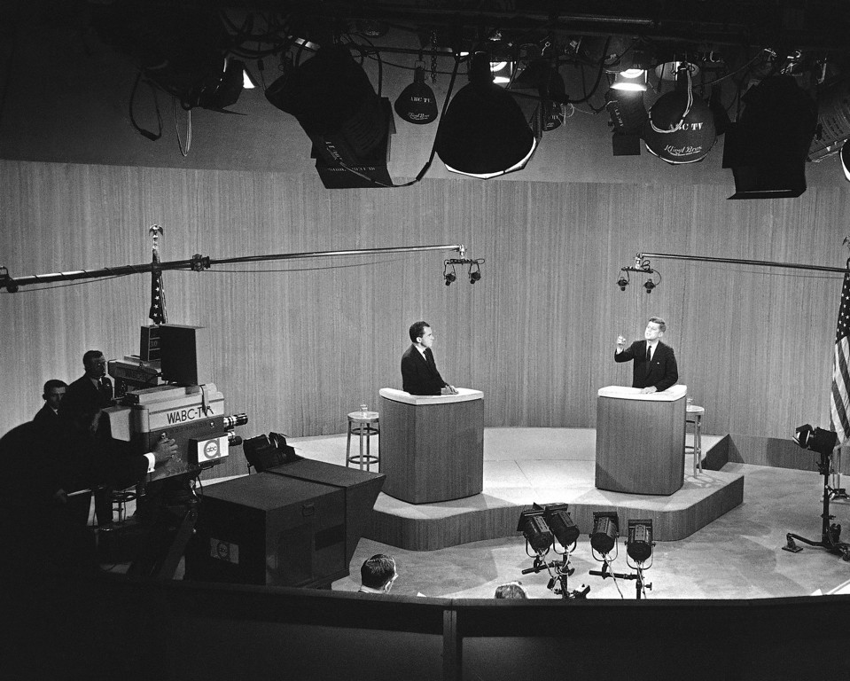 Description of . Television debates were an innovation in the 1960 U.S. presidential campaign. Sen. John F. Kennedy and Vice-President Richard M. Nixon as they appeared in the fourth and final of these debates in New York City, Dec. 8, 1960.  Associated Press file