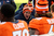 Denver Broncos quarterback Peyton Manning talking to the offensive line after the scored a touchdown on thier first posession against Kansas City Sunday at Sports Authority Field. Steve Nehf, The Denver Post