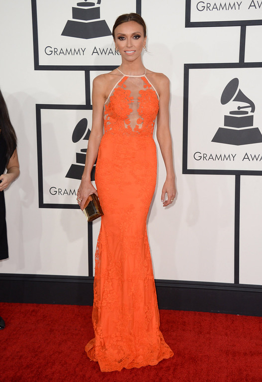 Description of . Giuliana Rancic arrives at the 56th annual GRAMMY Awards at Staples Center on Sunday, Jan. 26, 2014, in Los Angeles. (Photo by Jordan Strauss/Invision/AP)