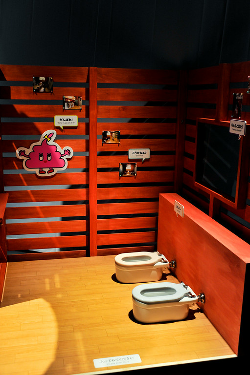 Description of . TOKYO, JAPAN - JULY 01:  A children toilet sets are displayed during the