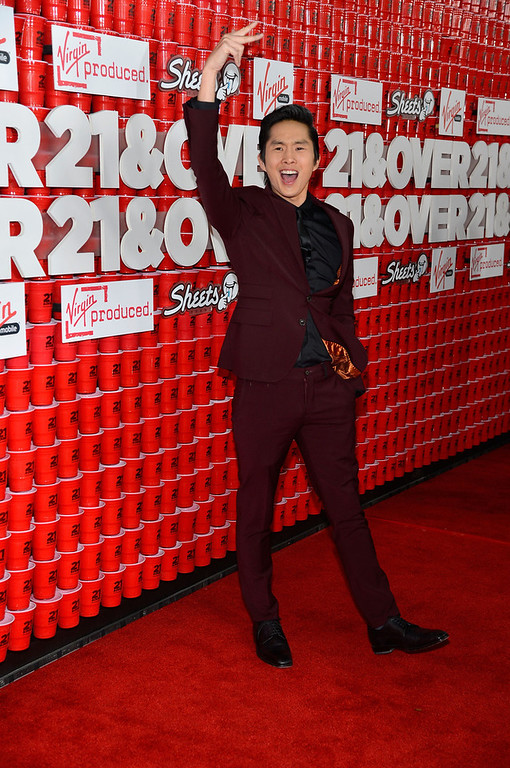 ". Actor Justin Chon attends Relativity Media\'s ""21 and Over\"" premiere at Westwood Village Theatre on February 21, 2013 in Westwood, California.  (Photo by Frazer Harrison/Getty Images for Relativity Media)"
