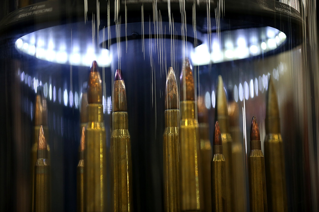 Description of . HOUSTON, TX - MAY 03:  Ammunition is displayed during the 2013 NRA Annual Meeting and Exhibits at the George R. Brown Convention Center on May 3, 2013 in Houston, Texas.  More than 70,000 peope are expected to attend the NRA's 3-day annual meeting that features nearly 550 exhibitors, gun trade show and a political rally. The Show runs from May 3-5.  (Photo by Justin Sullivan/Getty Images)