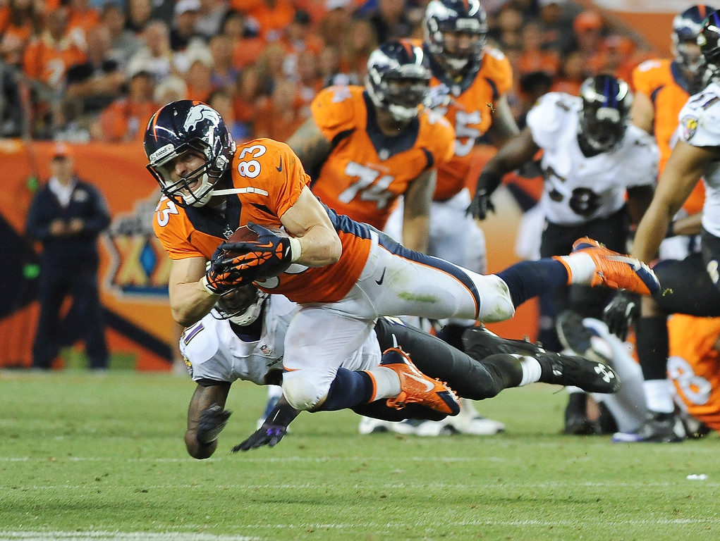 Description of . Denver Broncos wide receiver Wes Welker makes a catch in the third quarter against the Baltimore Ravens at Sports Authority Field at Mile High on September 5, 2013. A holding penalty on the play nullified the gain.(Photo by Steve Nehf/The Denver Post)