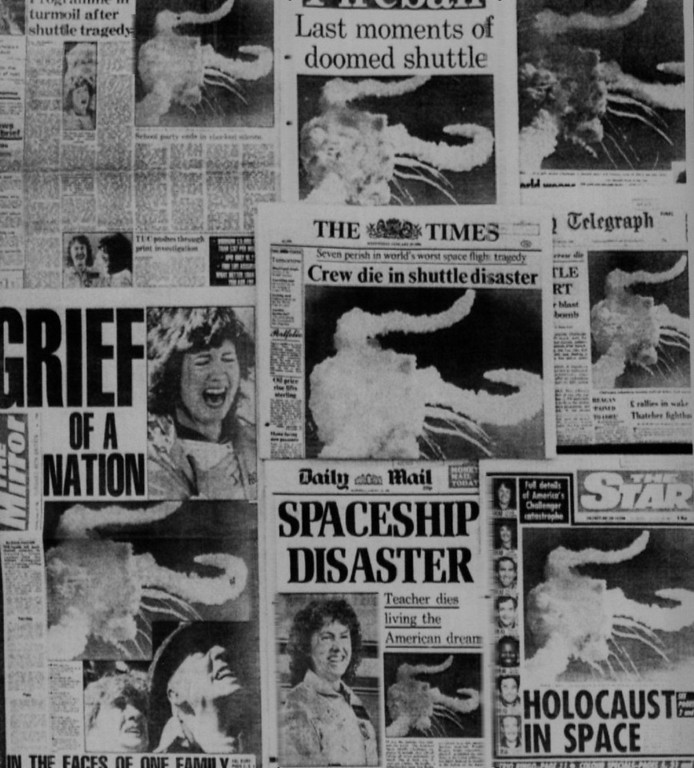 Description of . Wednesday morning newspapers heading the American Space Shuttle disaster in London, Jan. 28, 1986. Denver Post Library Archive