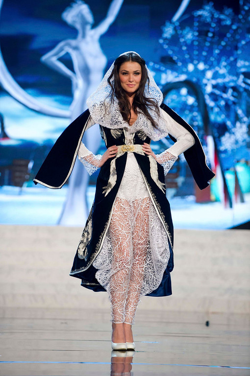 Description of . Miss Kosovo Diana Avdiu performs onstage at the 2012 Miss Universe National Costume Show at PH Live in Las Vegas, Nevada December 14, 2012. The 89 Miss Universe Contestants will compete for the Diamond Nexus Crown on December 19, 2012. REUTERS/Darren Decker/Miss Universe Organization/Handout