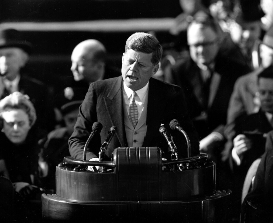 Description of . U.S. President John F. Kennedy delivers his inaugural address after taking the oath of office at Capitol Hill in Washington, D.C. on Jan. 20, 1961. Kennedy said,