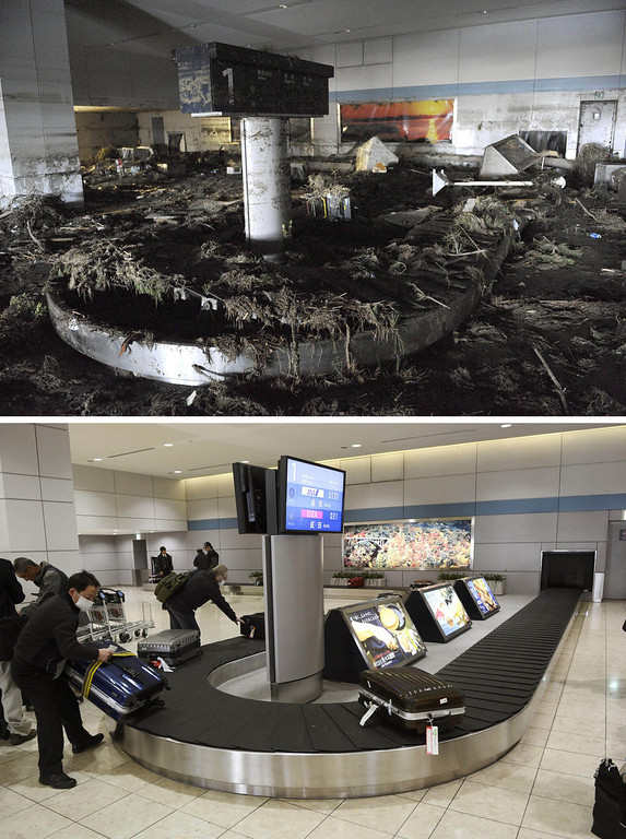 Description of . This combination photo taken March 17, 2011, top, and Thursday, Feb. 28, 2013, shows the luggage claim area at Sendai Airport in Natori, Miyagi prefecture. March 11, 2013 is the 2-year anniversary of the earthquake and tsunami which devastated the northeastern Pacific coast of Japan. The airport resumed operation only about one month after the tsunami and functioned as the major base of the rescue operation. (AP Photo/Kyodo News)
