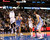 Dallas Mavericks guard O.J. Mayo (L) shoots against Denver Nuggets center Kosta Koufos (2nd L), as Mavericks center Brandan Wright and Nuggets forward Danilo Gallinari (R) watch, during the first half of their NBA basketball game in Dallas, Texas, December 28, 2012.  REUTERS/Mike Stone