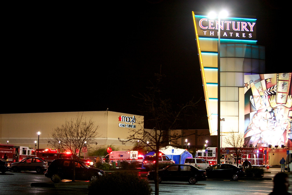 Description of . CLACKAMAS, OR - DECEMBER 11:  Emergency vehicles gather outside the Clackamas Town Center mall after a shooting on December 11, 2012 in Clackamas, Oregon. According to reports, two victims and the gunman are dead after emergency dispatchers received reports that a shooting had occurred and a man was seen with an assault rifle near the mall's food court around 3:29 p.m. (Photo by Craig Mitchelldyer/Getty Images)