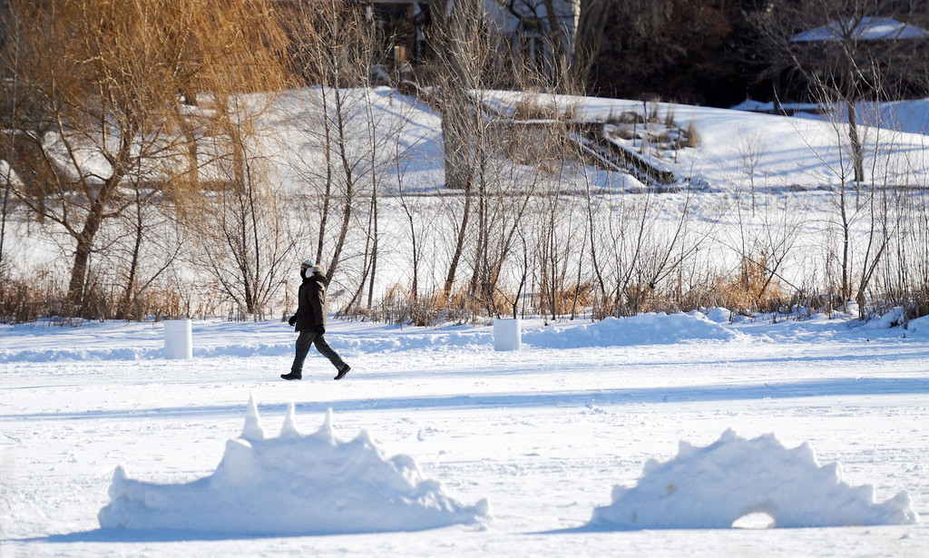 Description of . A walker passes a dragon snow sculpture on a lake during a sub-zero afternoon as the midwest braces for the coldest temperatures in nearly twenty years to arrive in later today in Minneapolis, Minnesota, USA, 05 January 2014. Minnesota Gov. Mark Dayton canceled schools Monday because of the expected cold, the first time that has been done in 17 years.  EPA/CRAIG LASSIG