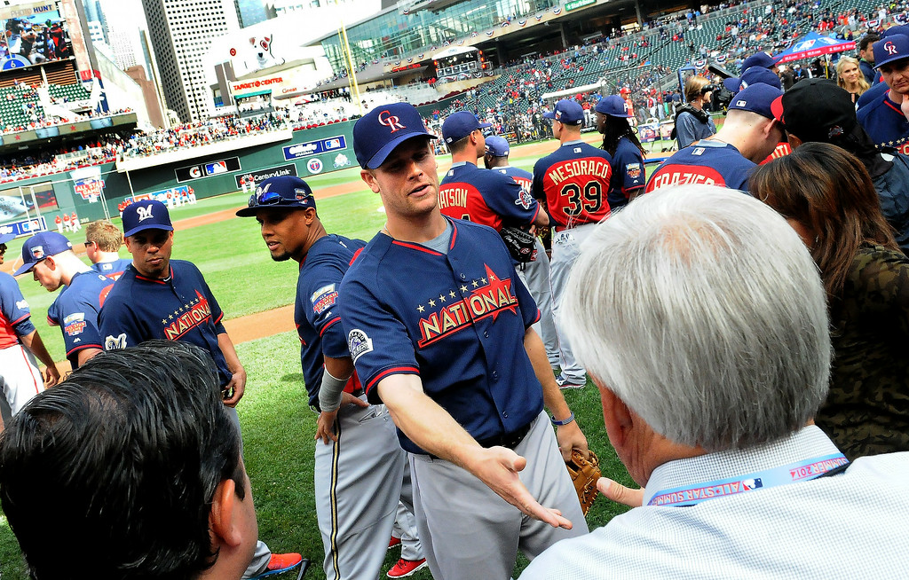 Description of . National League All-Star Justin Morneau, a former Minnesota Twins player now with the Colorado Rockies, during All-Star batting practice on Monday, July 14, 2014 at Target Field in Minneapolis.  (Pioneer Press: Sherri LaRose-Chiglo)