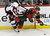 Minnesota Wild's Jonas Brodin, right, and Colorado Avalanche's Matt Duchene collide in the first period of an NHL hockey game on Thursday, Feb. 14, 2013, in St. Paul, Minn. (AP Photo/Jim Mone)