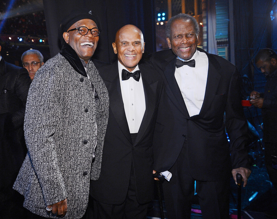 Description of . LOS ANGELES, CA - FEBRUARY 01:  (l-R) Harry Belafonte;Sidney Poitier;Samuel L. Jackson, Harry Belafonte and Sidney Poitier attend the 44th NAACP Image Awards at The Shrine Auditorium on February 1, 2013 in Los Angeles, California.  (Photo by Mark Davis/Getty Images for NAACP Image Awards)