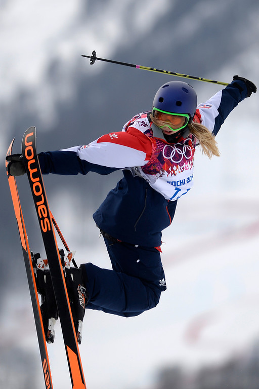 Description of . Great Britain\'s Katie Summerhayes jumps during the women\'s ski slopestyle final. Sochi 2014 Winter Olympics on Tuesday, February 11, 2014. (Photo by AAron Ontiveroz/The Denver Post)