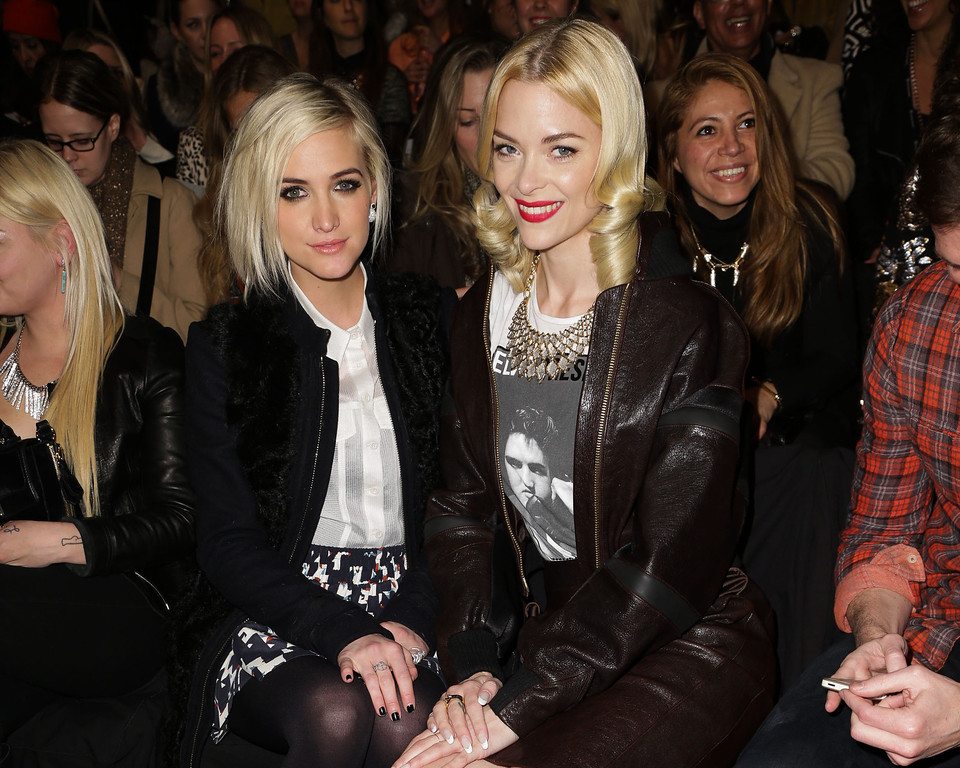 Description of . This image released by Starpix shows Ashlee Simpson, left, and Jaime King at the Rebecca Minkoff  Fall 2013 collection, Friday, Feb. 8, 2013 during Fashion Week in New York. (AP Photo/Starpix, Andrew Toth)