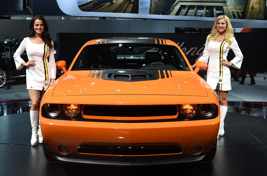 Description of . The 2014 Dodge Challenger on display during the first press preview day at the 2014 New York International Auto Show  April16, 2014  in New York at the Jacob Javits Center.  The show opens to the public on April 18 and runs through the 27th.  AFP PHOTO / Timothy A. Clary/AFP/Getty Images