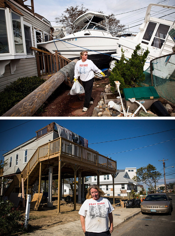 Description of . HIGHLANDS, NJ - NOVEMBER 1:  (top) Regina Yahara-Splain cleans out her home after it was damaged by Superstorm Sandy on November 1, 2012 in Highlands, New Jersey. HIGHLANDS, NJ - OCTOBER 22:  (bottom) Almost  one year later,  Yahara-Splain poses for a portrait in front of the same home, which she has since raised on stilts to protect it from future storms, October 22, 2013.  Hurricane Sandy made landfall on October 29, 2012 near Brigantine, New Jersey and affected 24 states from Florida to Maine and cost the country an estimated $65 billion.   (Photos by Andrew Burton/Getty Images)