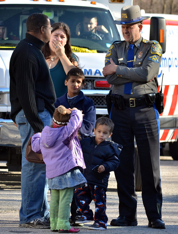 Description of . Outside the firehouse near the Sandy Hook School in Newtown, shooting aftermath.  Melanie Stenge/New Haven Register  12/14/12