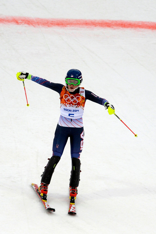 Description of . American Mikaela Shriffin finishes during ladies' slalom run 1. Sochi 2014 Winter Olympics on Friday, February 21, 2014 at Rosa Khutor Alpine Center. (Photo by AAron Ontiveroz/ The Denver Post)