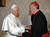 A file picture taken on January 13, 2007 at the Vatican shows Pope Benedict XVI (L) meeting the archbishop of Buenos Aires Cardinal Jorge Mario Bergoglio, who has been elected on March 13, 2013 to replace the frail Benedict XVI as leader of the world's 1.2 billon Catholics as tens of thousands cheer in St Peter's Square.  ARTURO MARI/OSSERVATORE ROMANO/AFP/Getty Images