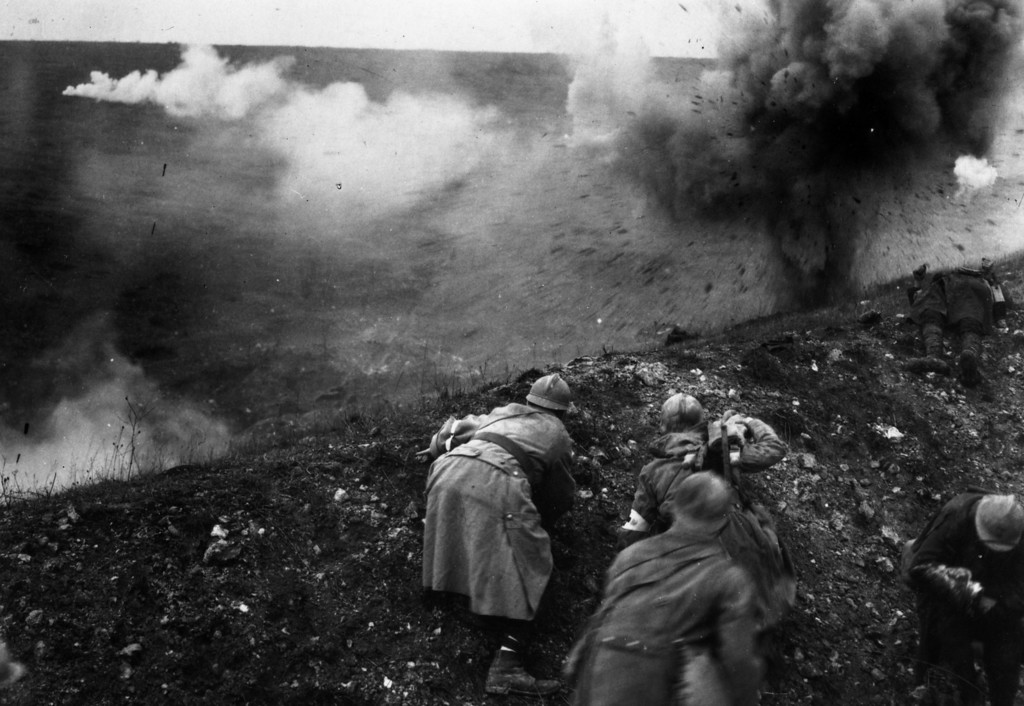 Description of . French troops under shellfire during the Battle of Verdun.   (Photo by General Photographic Agency/Getty Images)