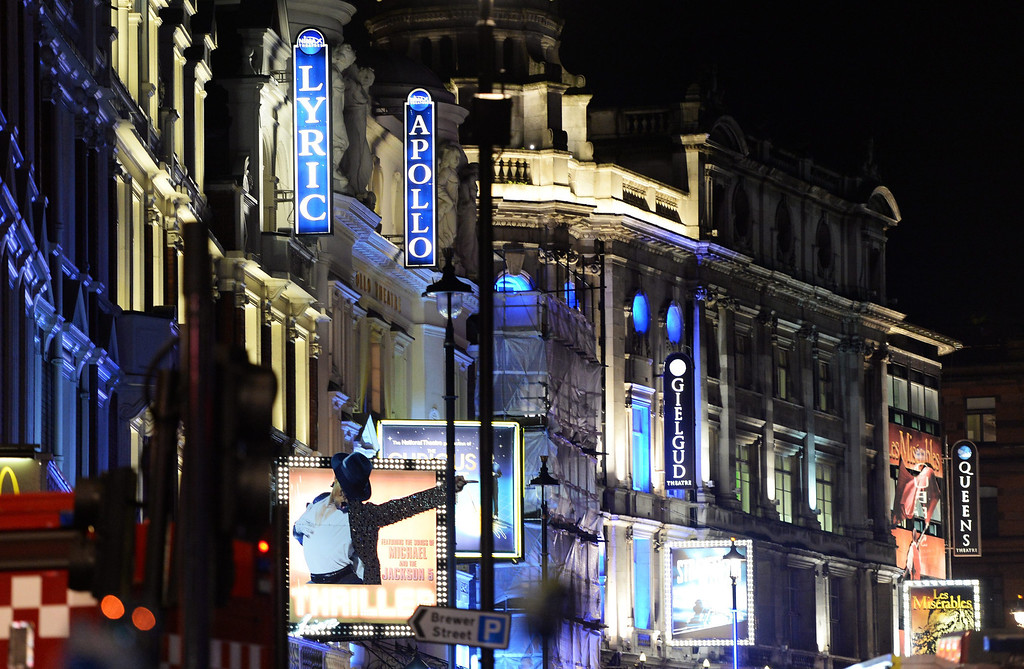 . The Apollo Theatre on Shaftsbury Avenue, the scene of an incident where a balcony collapsed in London, Britain, 19 December 2013. 20 to 40 people were injured according to first estimates by authorities.  EPA/ANDY RAIN