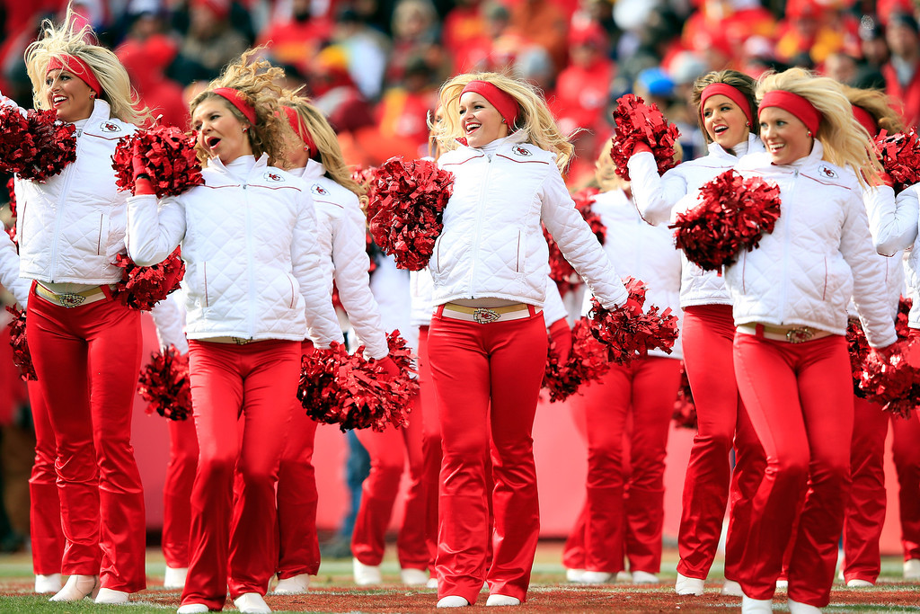 Description of . Kansas City Chiefs cheerleaders perform during the game against the San Diego Chargers at Arrowhead Stadium on November 24, 2013 in Kansas City, Missouri.  (Photo by Jamie Squire/Getty Images)