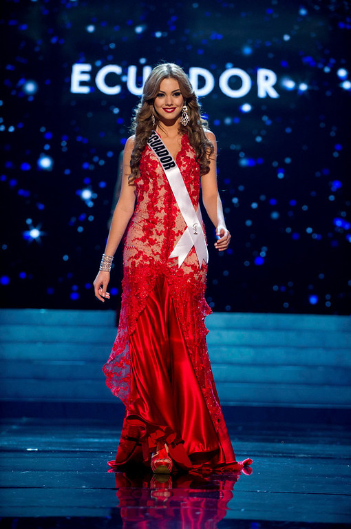 Description of . Miss Ecuador 2012 Carolina Andrea Aguirre Perez competes in an evening gown of her choice during the Evening Gown Competition of the 2012 Miss Universe Presentation Show in Las Vegas, Nevada, December 13, 2012. The Miss Universe 2012 pageant will be held on December 19 at the Planet Hollywood Resort and Casino in Las Vegas. REUTERS/Darren Decker/Miss Universe Organization L.P/Handout