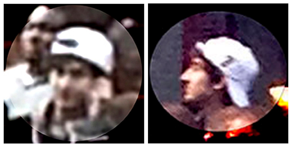 Description of . A suspect wanted for questioning in relation to the Boston Marathon bombing April 15 is seen in handout photos during an FBI news conference in Boston, April 18, 2013.  REUTERS/FBI/Handout