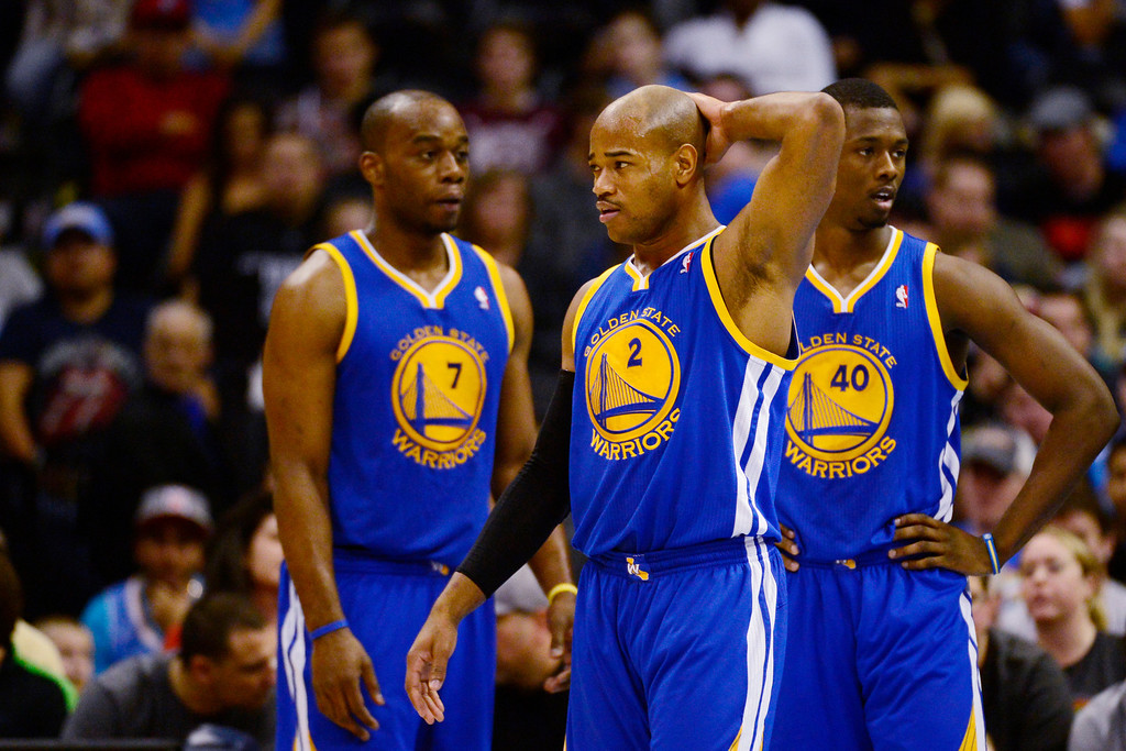Description of . Golden State Warriors point guard Jarrett Jack (2) reacts to getting called for his second foul against the Denver Nuggetsduring the second half of the Nuggets' 116-105 win at the Pepsi Center on Sunday, January 13, 2013. AAron Ontiveroz, The Denver Post