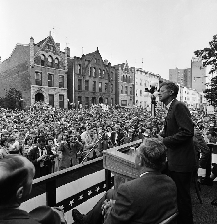 Description of . Kennedy, at a campaign stop in Trenton, N.J., in September 1960.  John F. Kennedy Presidential Library and Museum