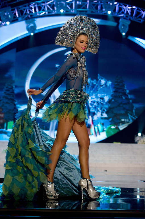 Description of . Miss Dominican Republic Dulcita Lieggi performs onstage at the 2012 Miss Universe National Costume Show at PH Live in Las Vegas, Nevada December 14, 2012. The 89 Miss Universe contestants will compete for the Diamond Nexus Crown on December 19, 2012. REUTERS/Darren Decker/Miss Universe Organization L.P./Handout