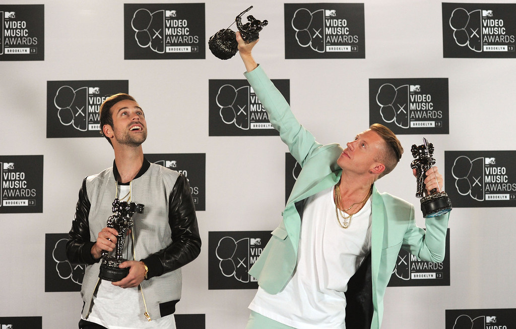 Description of . Ryan Lewis and Macklemore attend the 2013 MTV Video Music Awards at the Barclays Center on August 25, 2013 in the Brooklyn borough of New York City.  (Photo by Jamie McCarthy/Getty Images for MTV)
