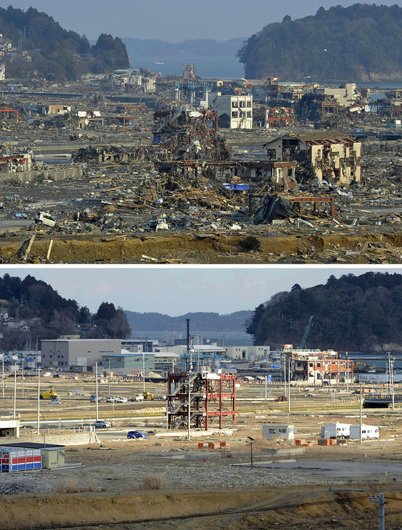 Description of . This combination photo taken March 13, 2011, top, and Saturday, March 2, 2013, shows the frames of the Disaster Prevention Office building, center, and its surrounding area in Minamisanriku, Miyagi prefecture. March 11, 2013 is the 2-year anniversary of the earthquake and tsunami which devastated the northeastern Pacific coast of Japan. Japan's progress in rebuilding from the mountain of water that thundered over coastal sea walls, sweeping entire communities away and killing nearly 19,000 people, is mainly measured in barren foundations and empty spaces. Clearing of forests on higher ground to make space for relocation of survivors has barely begun. (AP Photo/Kyodo News)