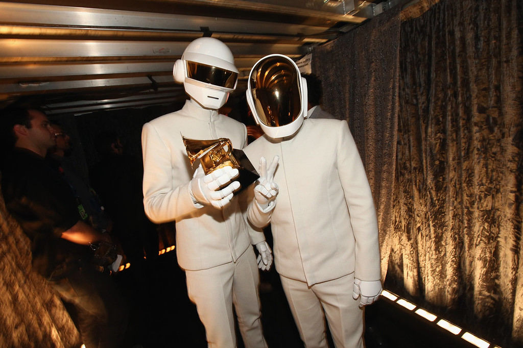 Description of . Musicians Thomas Bangalter and Guy-Manuel de Homem-Christo, winners of Album of the Year and Best Pop Duo/Group Performance attends the 56th GRAMMY Awards at Staples Center on January 26, 2014 in Los Angeles, California.  (Photo by Christopher Polk/Getty Images)