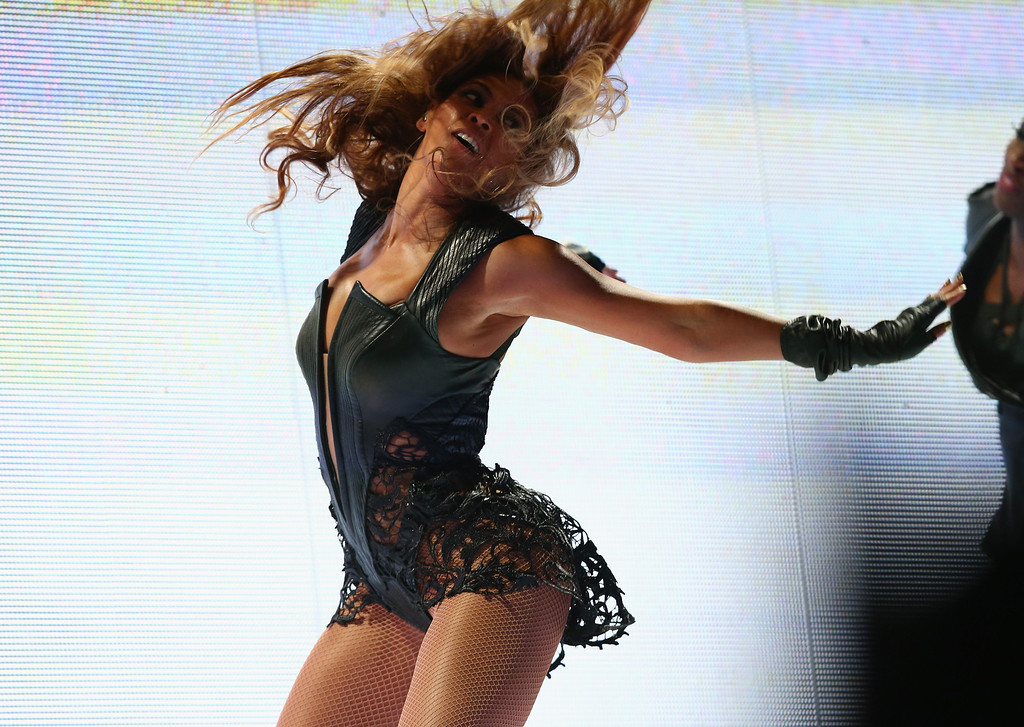 Description of . Beyonce performs during the Pepsi Super Bowl XLVII Halftime Show at Mercedes-Benz Superdome on February 3, 2013 in New Orleans, Louisiana.  (Photo by Christopher Polk/Getty Images)