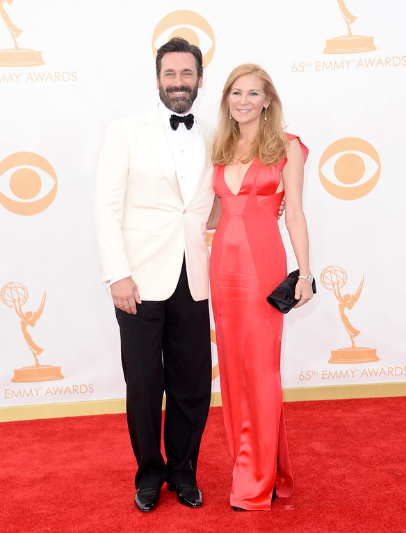 Description of . Actors Jon Hamm and Jennifer Westfeldt arrive at the 65th Annual Primetime Emmy Awards held at Nokia Theatre L.A. Live on September 22, 2013 in Los Angeles, California.  (Photo by Jason Merritt/Getty Images)