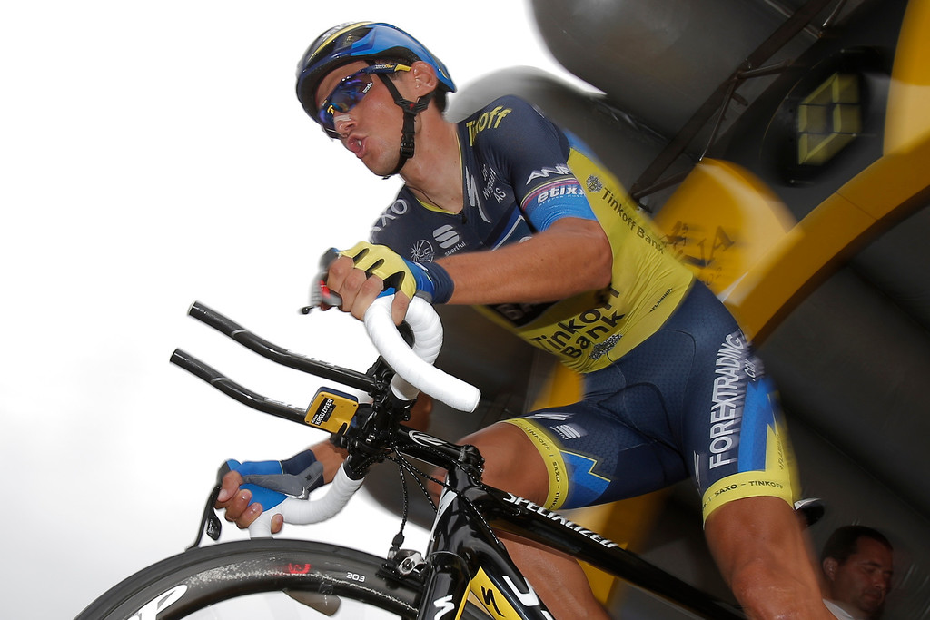 Description of . Roman Kreuziger of the Czech Republic takes the start of the seventeenth stage of the Tour de France cycling race an individual time trial over 32 kilometers (20 miles) with start in Embrun and finish in Chorges, France, Wednesday July 17, 2013. (AP Photo/Christophe Ena)