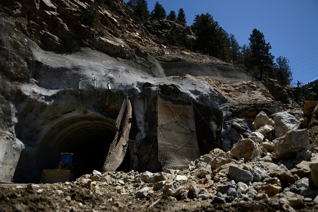 """. IDAHO SPRINGS, CO. - May 03:  The rubble after the first \""""blast\"""" at the west portal of the Twin Tunnels project in Idaho Springs that signals the start the blasting season May 03, 2013 Idaho Springs, Colorado. (Photo By Joe Amon/The Denver Post)"""
