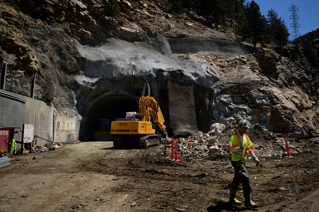 """. IDAHO SPRINGS, CO. - May 03:  A worker gives the thumbs up after the first \""""blast\"""" at the west portal of the Twin Tunnels project in Idaho Springs that will signal the start the blasting season May 03, 2013 Idaho Springs, Colorado. (Photo By Joe Amon/The Denver Post)"""