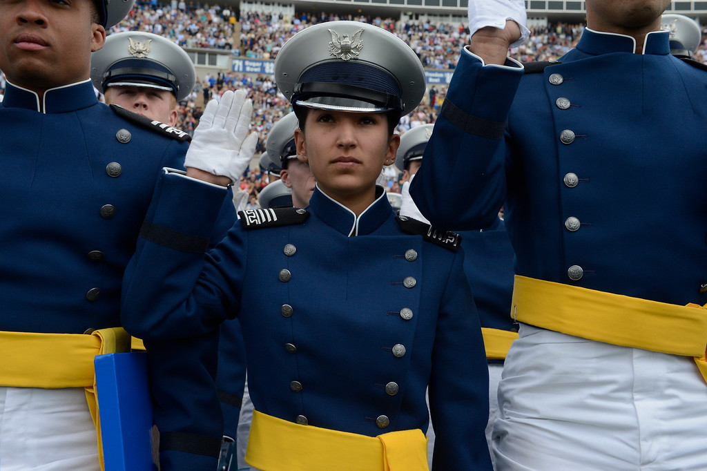 . Alexis Sanchez takes the Oath of Office during the United States Air Force Academy graduation ceremony at Falcon Stadium in Colorado Springs, CO May 29, 2013.(Photo By Craig F. Walker/The Denver Post)
