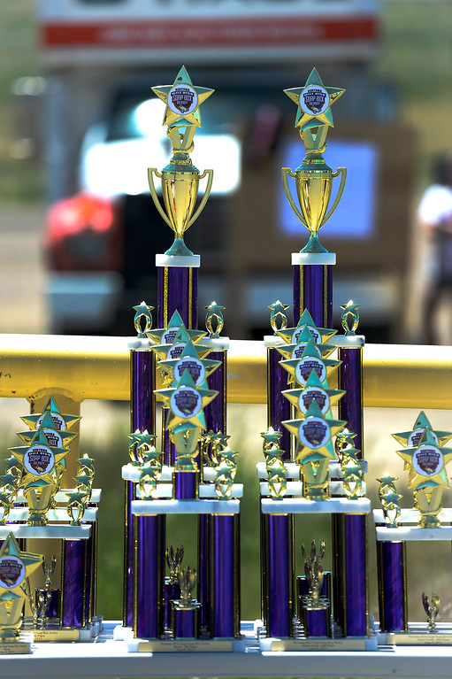 . The trophies the drivers are racing for at The Seventh Annual Sertoma Mile High Soap Box Derby on June 9, 2013. (Photo By John Leyba/The Denver Post)
