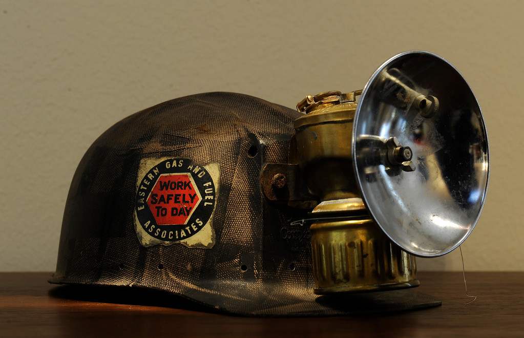 . A miner\'s helmet from the hat collection of Beverly Chico at her home in Greenwood Village  on Friday, October 11, 2013.    (Photo By Cyrus McCrimmon/ The Denver Post )