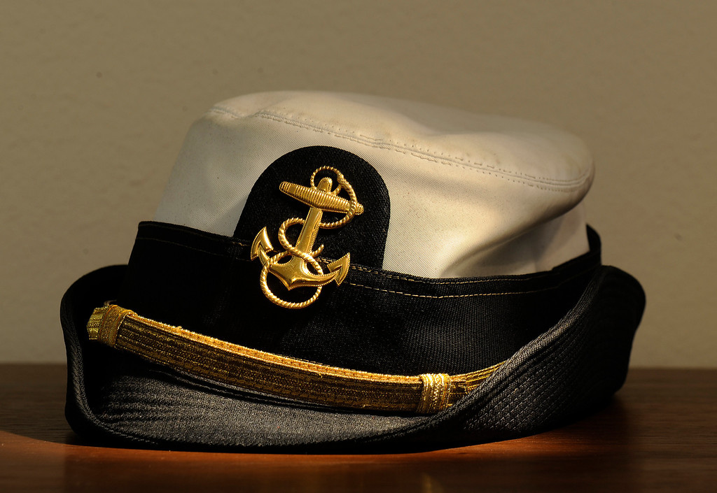 . A hat from the U.S. Naval Academy in the hat collection of Beverly Chico at her home in Greenwood Village, CO  on Friday, October 11, 2013.    (Photo By Cyrus McCrimmon/ The Denver Post )