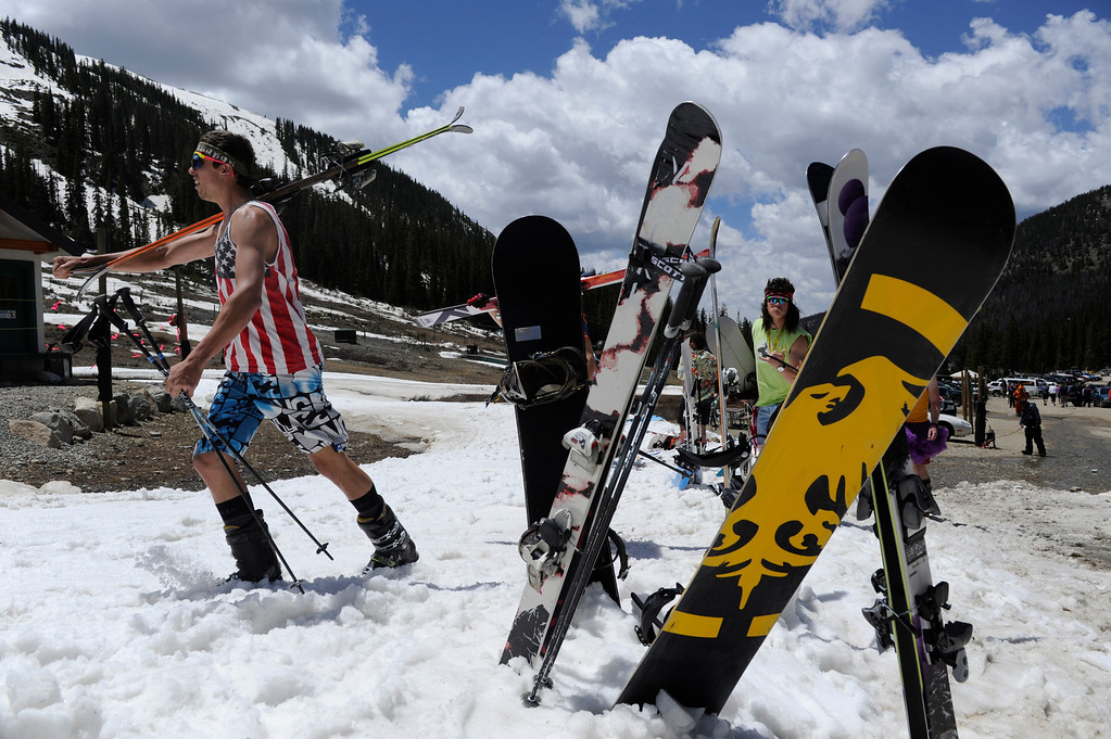 . SUMMIT COUNTY, CO - JUNE 08: Some skiers and snowboarders dressed up in costumes on the second to last day of the season at the Arapahoe Basin ski area in Summit County Colorado, Saturday morning, June 08, 2013. The ski area will close for the season at the end of the day, Sunday June 09, 2013.  (Photo By Andy Cross/The Denver Post)