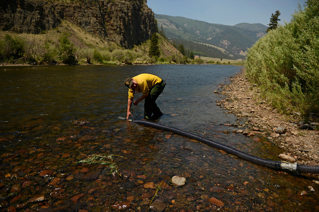 . CREEDE, CO-June 25, 2013: Firefighter, Joe Smith, battling the West Fork Complex get water for his crews pump truck from the Rio Grande River, June 25, 2013. The wildfire in southwestern Colorado continues to have potential for growth. (Photo By RJ Sangosti/The Denver Post)