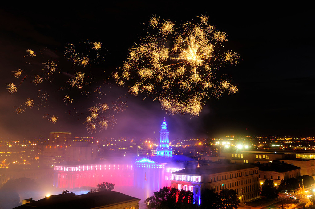 . DENVER - JULY 3: Fireworks shoot off from the City and County Building at the city of Denver\'s annual fireworks show in Civic Center on July 3, 2013, in Denver, Colorado. (Photo By Grant Hindsley / The Denver Post)